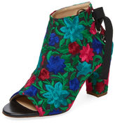 Jerome C. Rousseau Crayon Embroidered Peep-Toe Bootie