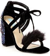 Betsey Johnson Blue by Luca Velvet Sequin Beaded Block Heel Feather Detail Dress Sandals