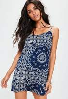 Missguided Petite Navy Paisley Print Cami Dress
