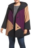 Gallery Plus Size Women's Colorblock Wool Blend Coat