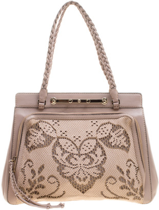 Valentino Beige Leather and Lace Demetra Tote