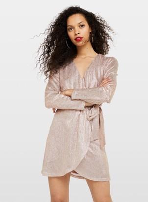 Miss Selfridge PETITE Pale Pink Wrap Mini Dress