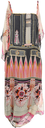 Temperley London Athena Draped Printed Silk-chiffon Midi Dress