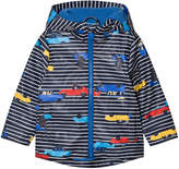 Joules Navy Stripe Car Print Hooded Raincoat