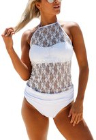FIYOTE Women Lace High Neck Halter Two Piece Swimsuit Tankini Set Swimwear Large
