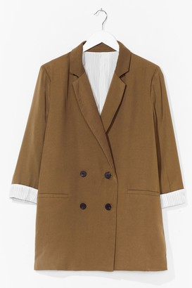 Nasty Gal Womens If It Suits You Double Breasted Blazer - Khaki
