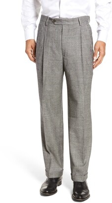 Berle Pleated Classic Fit Stretch Plaid Wool Trousers