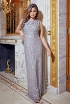 Sistaglam All Over Sequin Blakely Silver Gown Dress