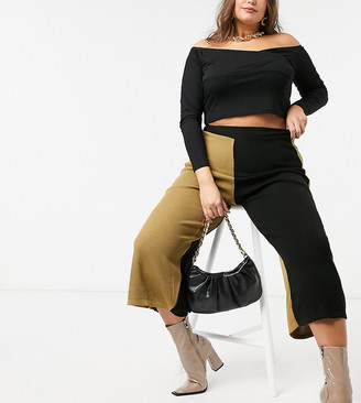 Unique21 Hero colour block knitted pants in black & camel
