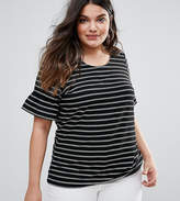 Junarose Striped Top With Fluted Sleeve
