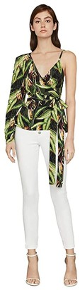 BCBGMAXAZRIA One Sleeve Printed Top (Black Bird of Paradise) Women's Clothing