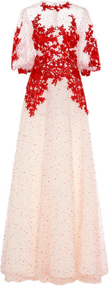 Costarellos Blouson Sleeve Flocked Dot Tulle Dress With Lace Lining An