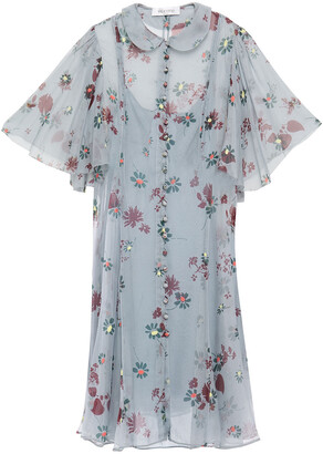 Valentino Fluted Floral-print Silk-voile Dress