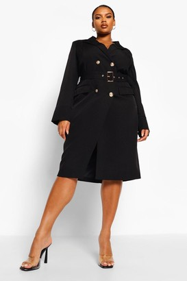 boohoo Plus Belted Wrap Blazer Dress
