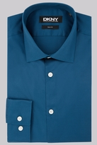 DKNY Slim Fit Teal Single Cuff Sateen Shirt