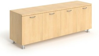 Steelcase Currency Credenza Laminate Color: Chocolate Walnut, Pull Style: Handle Pull-Nickel