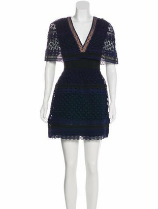 Self-Portrait Embroidered Mini Dress w/ Tags Navy
