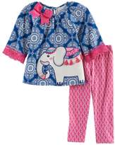 Rare Editions Baby Girl Elephant Applique Patterned Top & Leggings Set
