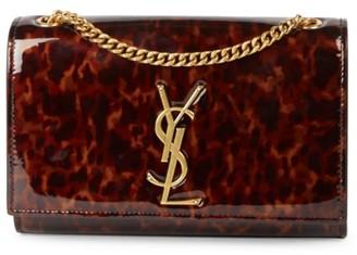 Saint Laurent Small Kate Tortoise Patent Leather Shoulder Bag