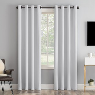 Sun Zero Tresello Tonal Textured Draft Shield Fleece Insulated 100% Blackout Grommet Window Curtain