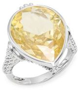 Judith Ripka Bermuda Canary Crystal & Sterling Silver Pear Ring