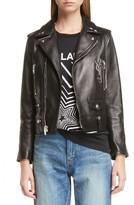 Saint Laurent Women's Logo Classic Leather Moto Jacket