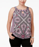 INC International Concepts Plus Size Printed Shell, Only at Macy's
