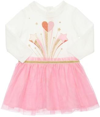Billieblush Printed Jersey & Tulle Dress