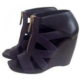 Balenciaga Navy Leather Sandals