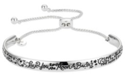 "Unwritten Fine Silver Plated ""I Love You to the Moon & Back"" Graffiti Cuff Bolo Bracelet"