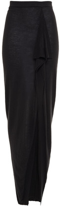 Rick Owens Grace Draped Brushed-cashmere Maxi Skirt