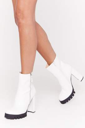 Nasty Gal Womens That's Zip Faux Leather Cleated Boots - white - 3