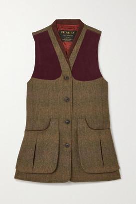 Purdey - Alcantara-trimmed Checked Wool-tweed Vest - Army green