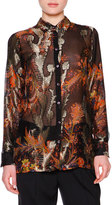 Etro Floral Paisley Fil Coupe Blouse, Black/Red