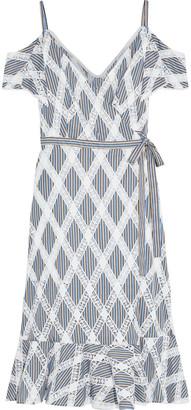 Sandro Illa Cold-shoulder Crochet And Striped Twill Midi Wrap Dress