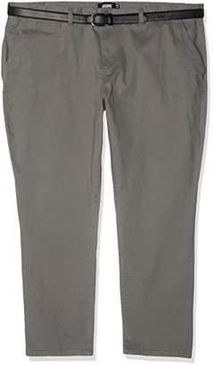 "Jacamo Men's Smart Belted Chino 31"" Regular Trousers, Grey 001, (Size:50R)"