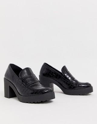 Asos Design DESIGN Shores chunky mid-heels in black croc