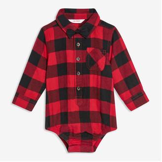 Joe Fresh Baby Boys' Flannel Shirt Bodysuit, Red (Size 3-6)