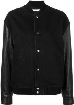Givenchy leather sleeve bomber jacket