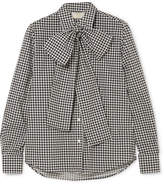 Sara Battaglia Pussy-bow Gingham Cotton-poplin Shirt - Gray