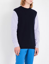 Marni Contrast-sleeve wool and cotton jumper
