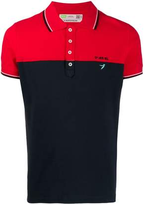 Diesel upcycled block colour polo shirt