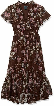 Gabby Skye Women's Short Sleeve V-Neck Floral Print Sinched Waist A-Line Dress