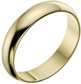 9ct yellow gold 4mm D shaped plain court ring