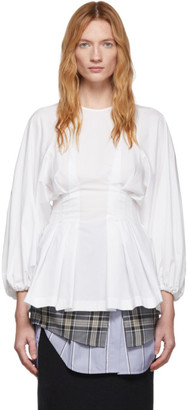 Enfold White Pleated Blouse