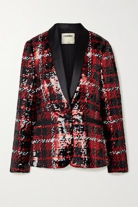 L'Agence Satin-trimmed Sequined Tulle Blazer - Black