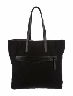 Burberry Leather-Trimmed Nylon Tote Black