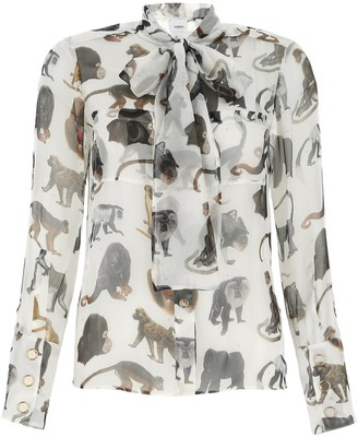 Burberry Monkey Print Pussy Bow Blouse