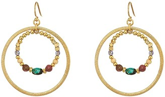Chan Luu Gold Double Hoop Earrings with Semi Precious Stones (Pink Mix) Earring