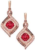 Macy's Rhodolite Garnet (2 ct. t.w.) and Diamond (3/8 ct. t.w.) Drop Earrings in 14k Rose Gold